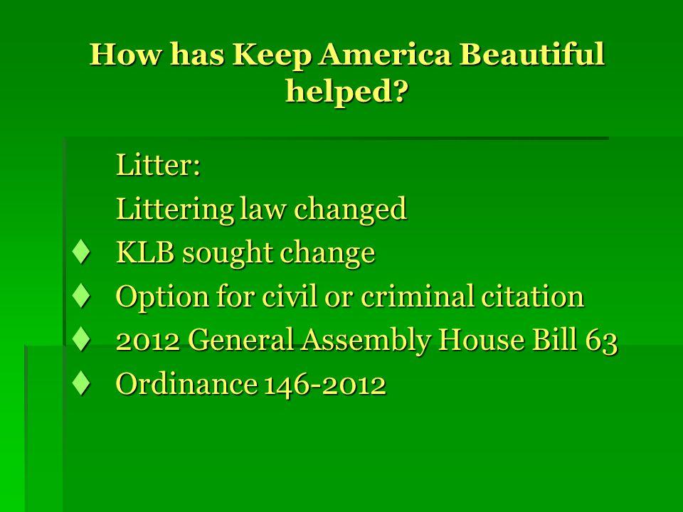 How has Keep America Beautiful helped.