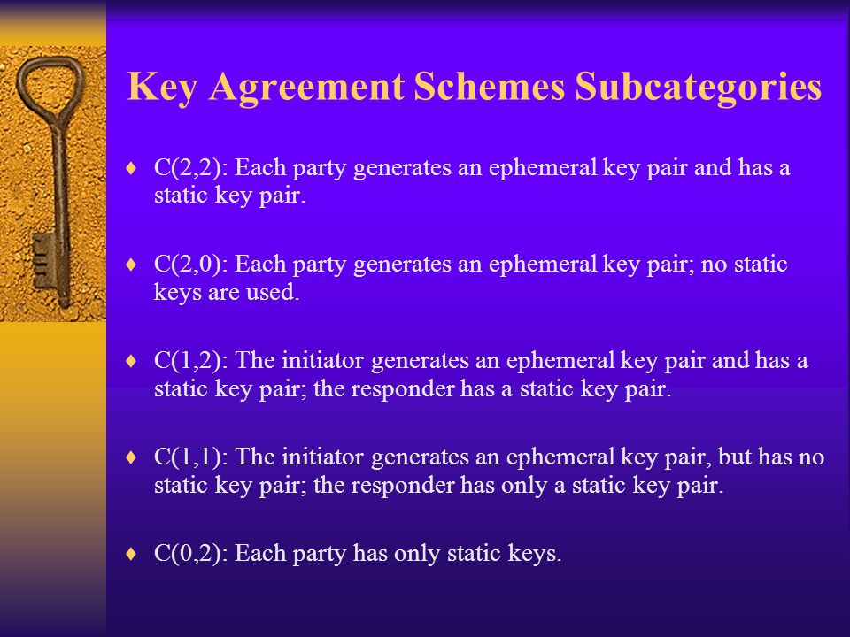 Key Agreement Schemes Subcategories  C(2,2): Each party generates an ephemeral key pair and has a static key pair.