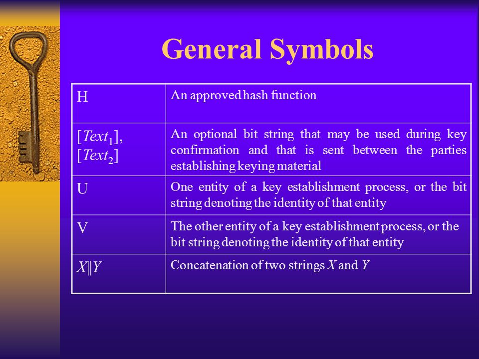 General Symbols H An approved hash function [Text 1 ], [Text 2 ] An optional bit string that may be used during key confirmation and that is sent between the parties establishing keying material U One entity of a key establishment process, or the bit string denoting the identity of that entity V The other entity of a key establishment process, or the bit string denoting the identity of that entity X||Y Concatenation of two strings X and Y