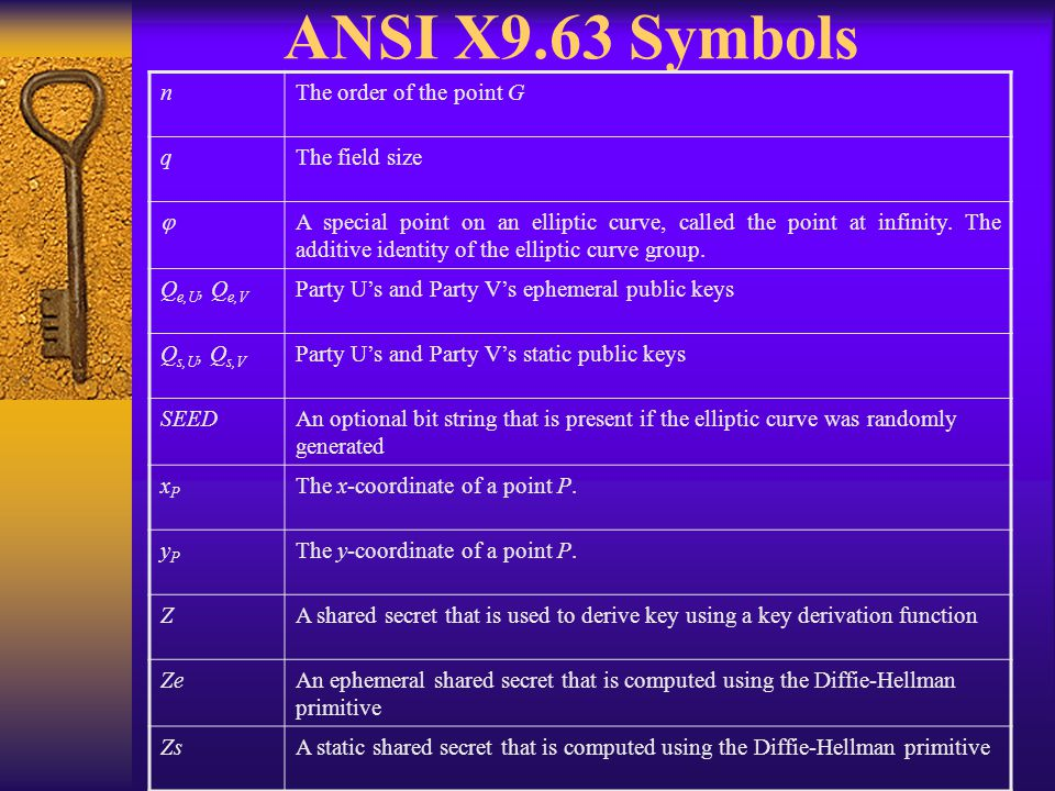 Calculation of Shared Secrets  Use MQV2 primitive of ANSI X9.42 for the MQV2 scheme  Use MQV1 primitive of ANSI X9.42 for MQV1 scheme  Use MQV primitive of Section 5.5 of ANSI X9.63 for Full MQV and 1-Pass MQV schemes  Shared Secrets – – must not be used directly as shared keying material.