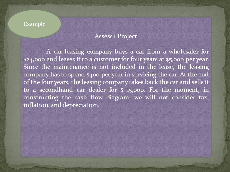 Assess 1 Project A car leasing company buys a car from a wholesaler for $24,000 and leases it to a customer for four years at $5,000 per year.