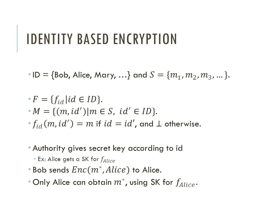 IDENTITY BASED ENCRYPTION
