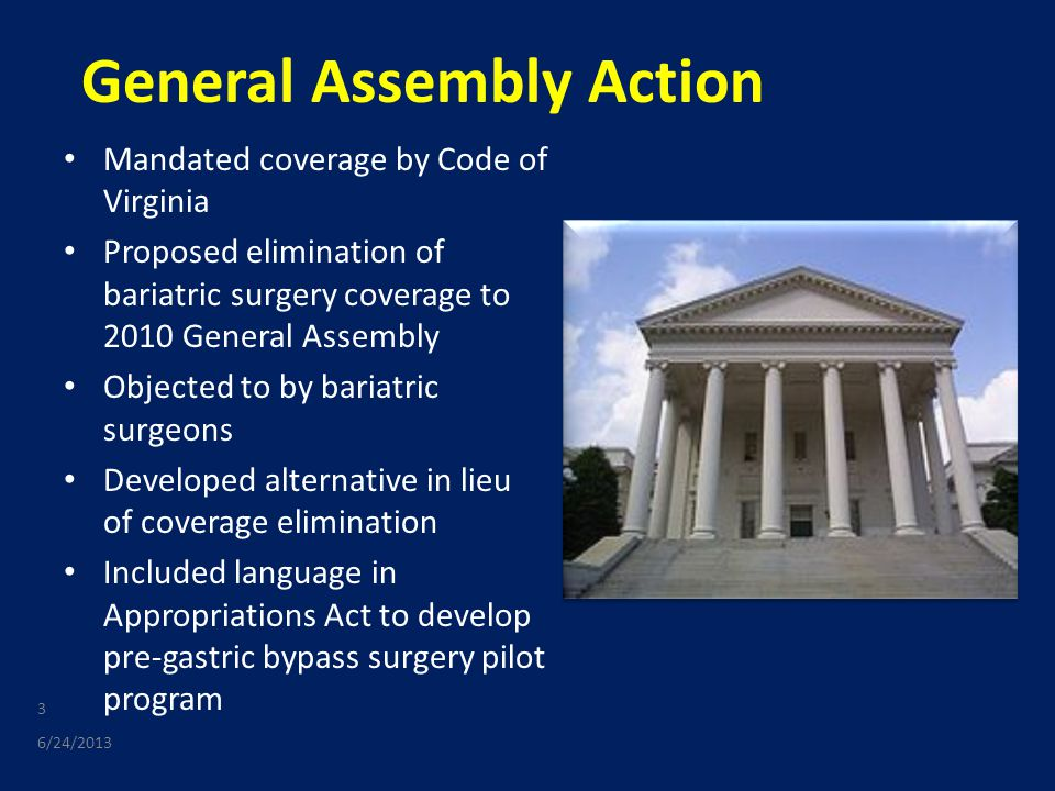 General Assembly Action Mandated coverage by Code of Virginia Proposed elimination of bariatric surgery coverage to 2010 General Assembly Objected to by bariatric surgeons Developed alternative in lieu of coverage elimination Included language in Appropriations Act to develop pre-gastric bypass surgery pilot program 6/24/2013 3