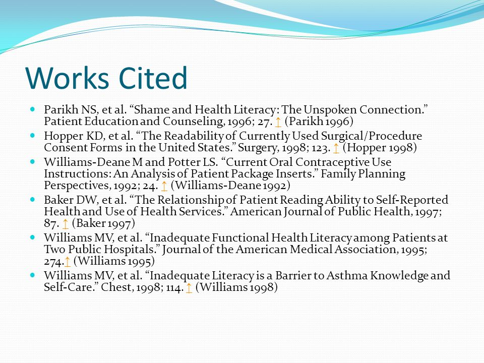 Works Cited Parikh NS, et al.