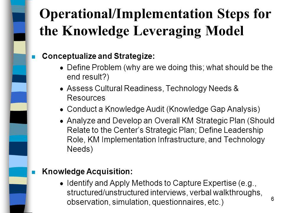 5 A SMART Methodology for Knowledge Management (Liebowitz et al., UMBC) n S=Strategize n M=Model n A=Act n R=Revise n T=Transfer