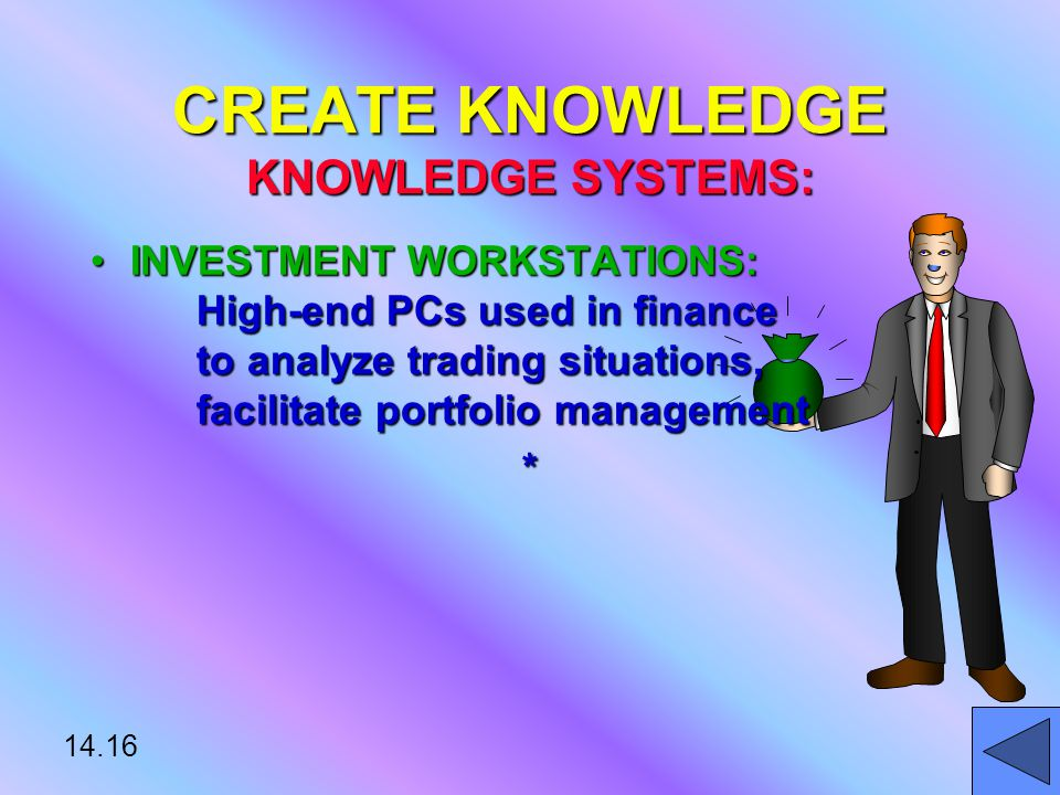 14.16 INVESTMENT WORKSTATIONS: High-end PCs used in finance to analyze trading situations, facilitate portfolio managementINVESTMENT WORKSTATIONS: High-end PCs used in finance to analyze trading situations, facilitate portfolio management* CREATE KNOWLEDGE KNOWLEDGE SYSTEMS: