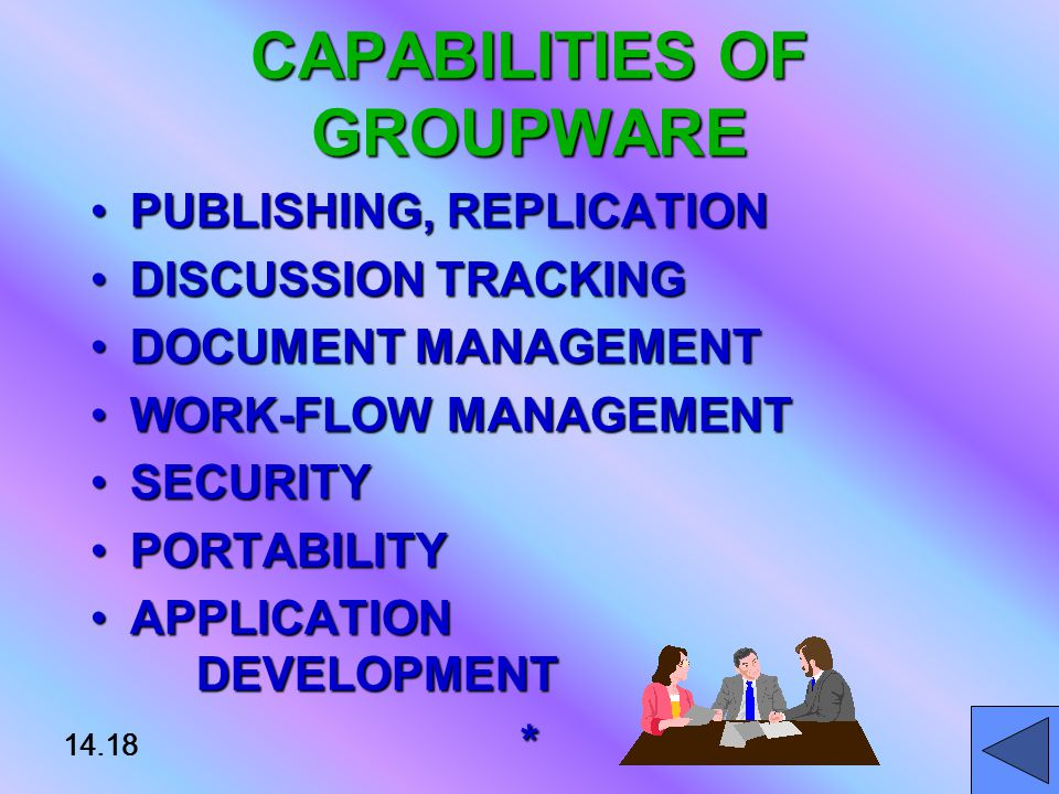 14.18 CAPABILITIES OF GROUPWARE PUBLISHING, REPLICATIONPUBLISHING, REPLICATION DISCUSSION TRACKINGDISCUSSION TRACKING DOCUMENT MANAGEMENTDOCUMENT MANAGEMENT WORK-FLOW MANAGEMENTWORK-FLOW MANAGEMENT SECURITYSECURITY PORTABILITYPORTABILITY APPLICATION DEVELOPMENTAPPLICATION DEVELOPMENT* 14.18