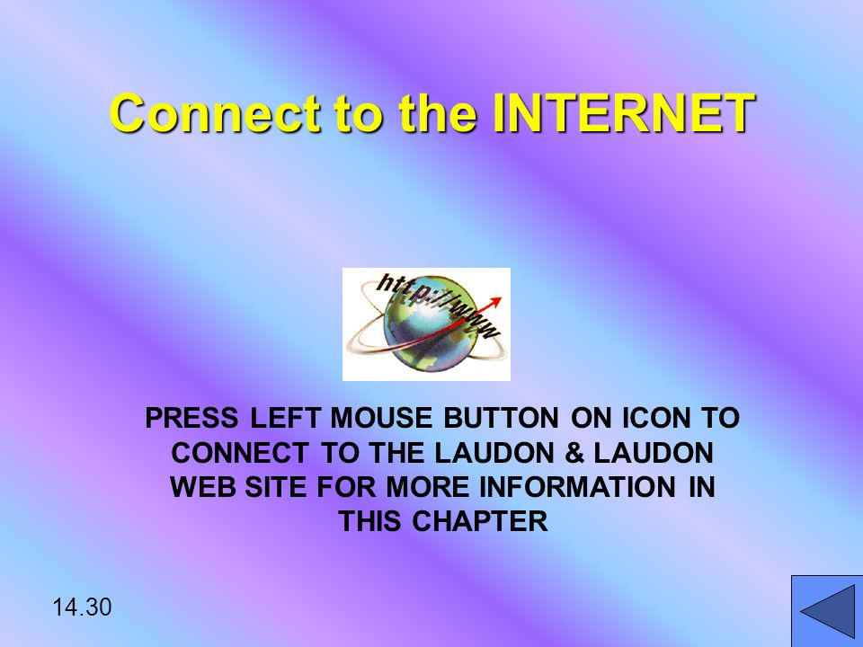 14.30 Connect to the INTERNET PRESS LEFT MOUSE BUTTON ON ICON TO CONNECT TO THE LAUDON & LAUDON WEB SITE FOR MORE INFORMATION IN THIS CHAPTER