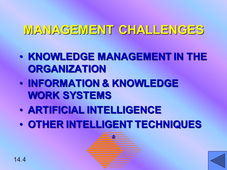 14.5 KNOWLEDGE MANAGEMENT IN THE ORGANIZATION KNOWLEDGE MANAGEMENT: SYSTEMATICALLY & ACTIVELY MANAGING AND LEVERAGING STORES OF KNOWLEDGE STORES OF KNOWLEDGE IN AN ORGANIZATION *