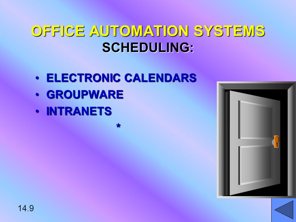 14.9 OFFICE AUTOMATION SYSTEMS SCHEDULING: ELECTRONIC CALENDARSELECTRONIC CALENDARS GROUPWAREGROUPWARE INTRANETSINTRANETS*
