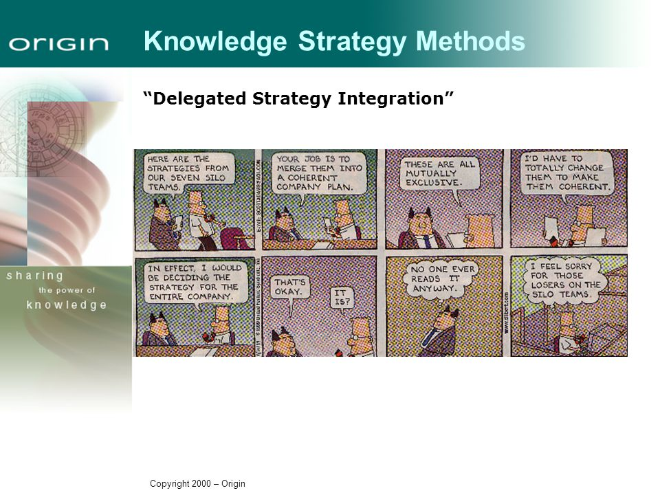 Copyright 2000 – Origin Knowledge Strategy Methods Delegated Strategy Integration