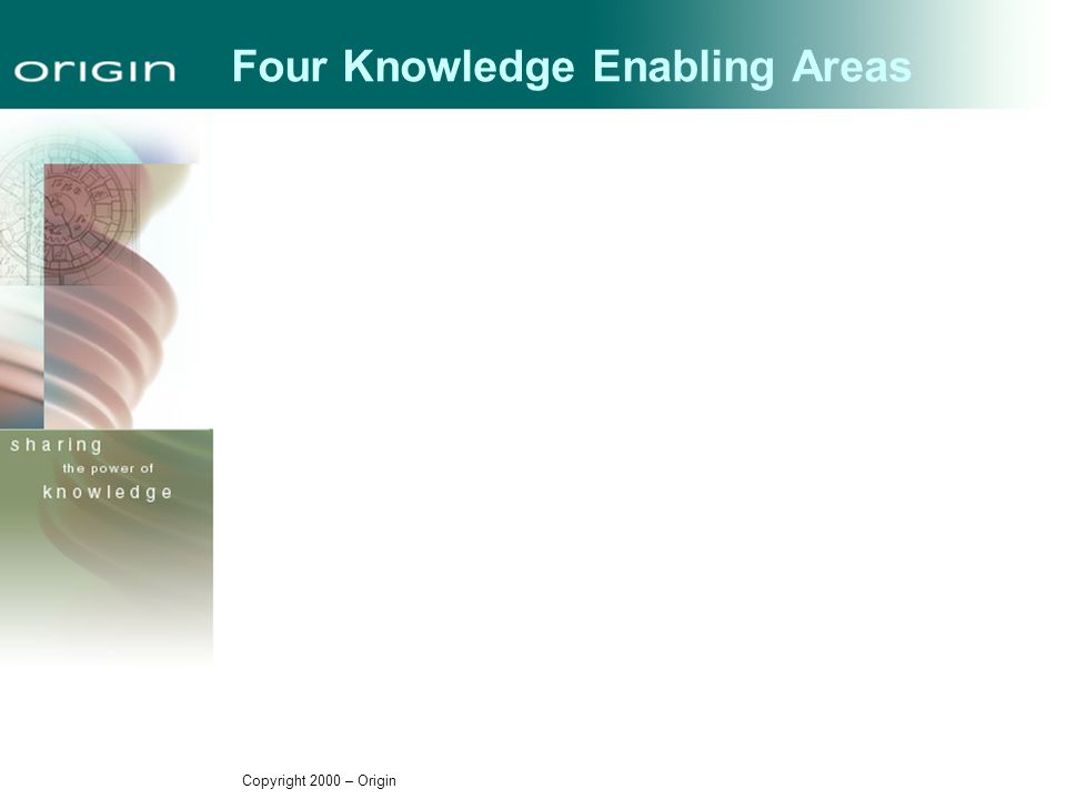 Copyright 2000 – Origin Four Knowledge Enabling Areas