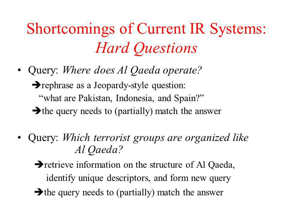 """Shortcomings of Current IR Systems: Hard Questions Query: Where does Al Qaeda operate?  rephrase as a Jeopardy-style question: """"what are Pakistan, In"""