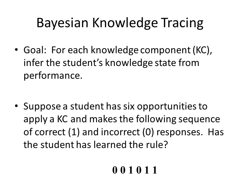 Goal: For each knowledge component (KC), infer the student's knowledge state from performance. Suppose a student has six opportunities to apply a KC a