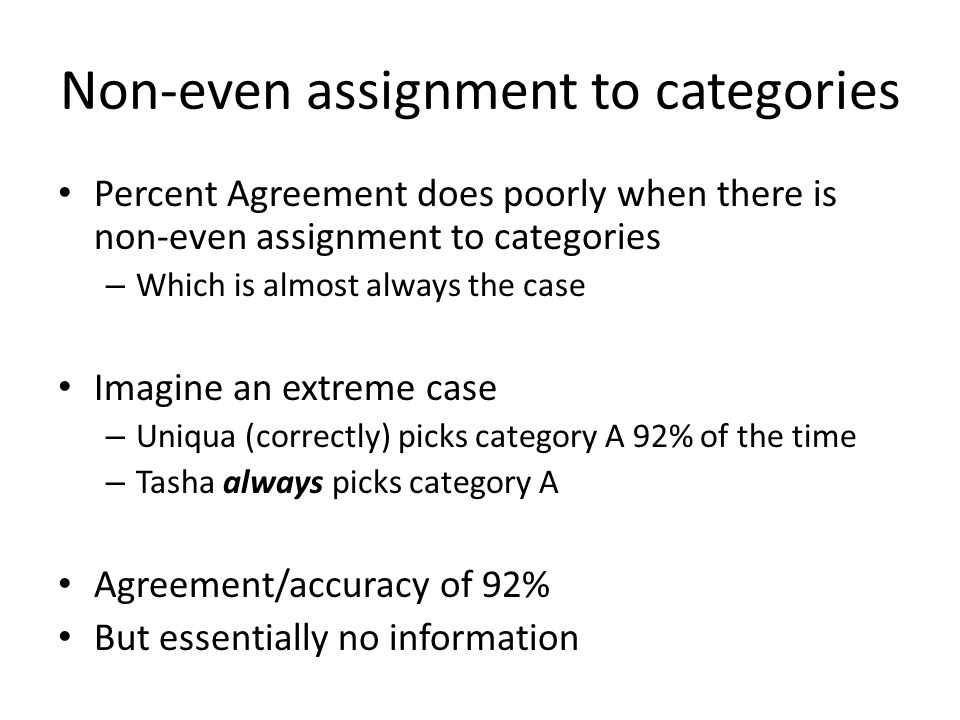 Non-even assignment to categories Percent Agreement does poorly when there is non-even assignment to categories – Which is almost always the case Imag