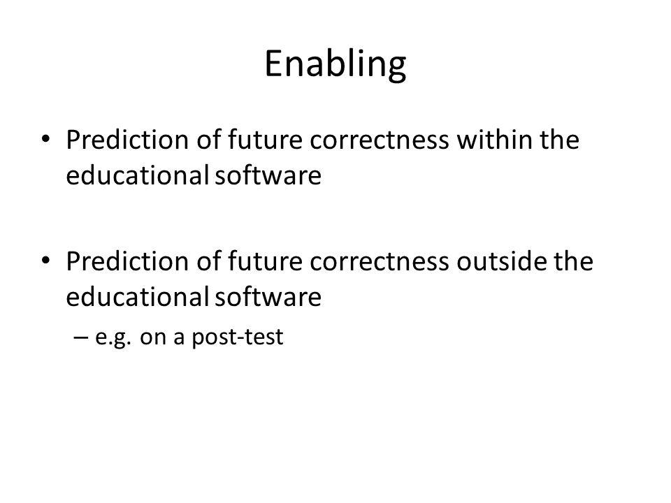Enabling Prediction of future correctness within the educational software Prediction of future correctness outside the educational software – e.g. on