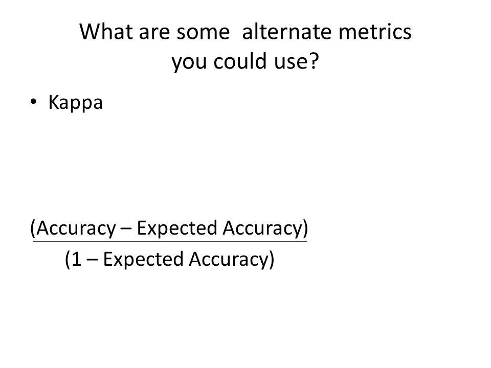 Kappa (Accuracy – Expected Accuracy) (1 – Expected Accuracy)