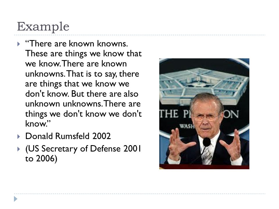 "Example  ""There are known knowns. These are things we know that we know. There are known unknowns. That is to say, there are things that we know we d"