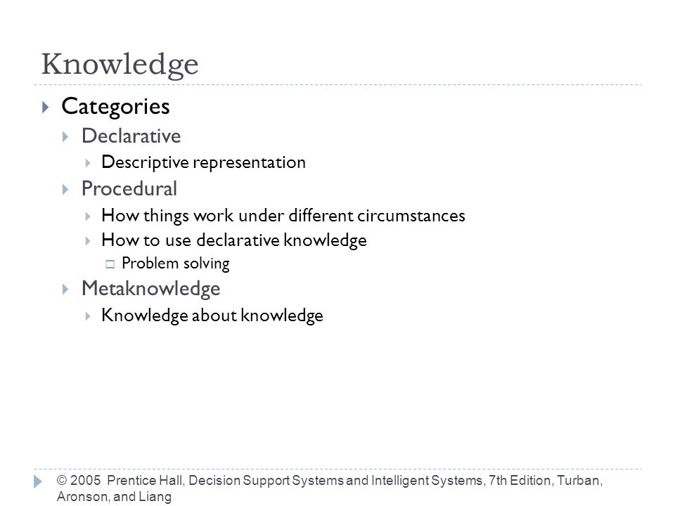 © 2005 Prentice Hall, Decision Support Systems and Intelligent Systems, 7th Edition, Turban, Aronson, and Liang Knowledge Engineers  Professionals who elicit knowledge from experts  Empathetic, patient  Broad range of understanding, capabilities  Integrate knowledge from various sources  Creates and edits code  Operates tools  Build knowledge base  Validates information  Trains users
