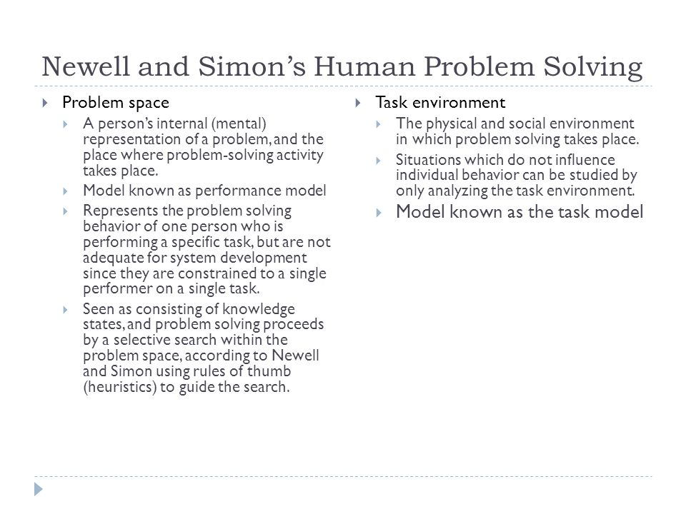Newell and Simon's Human Problem Solving  Problem space  A person's internal (mental) representation of a problem, and the place where problem-solvi