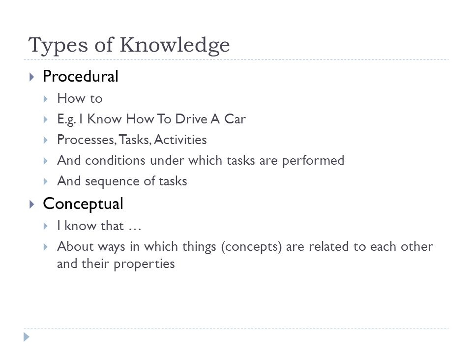 Types of Knowledge  Procedural  How to  E.g. I Know How To Drive A Car  Processes, Tasks, Activities  And conditions under which tasks are perfor