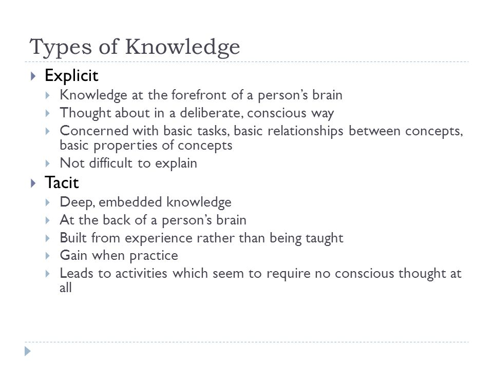Types of Knowledge  How to Boil An Egg  Simple task easily explained  How to tie a shoelace  Requires demonstration with commentary  E=mc2  Simply relates concepts  The position of keys on a keyboard  Most people know this sub-conciously but few conciously Basic, Explicit Knowledge Deep, Tacit Knowledge Conceptual Knowledge Procedural Knowledge How to boil an egg E=mc 2 How to interview an expert The properties of knowledge The position of keys on a keyboard How to tie a shoelace Taken from Knowledge Acquisition in Practice A Step By Step Guide, Millton, Springer-Verlag