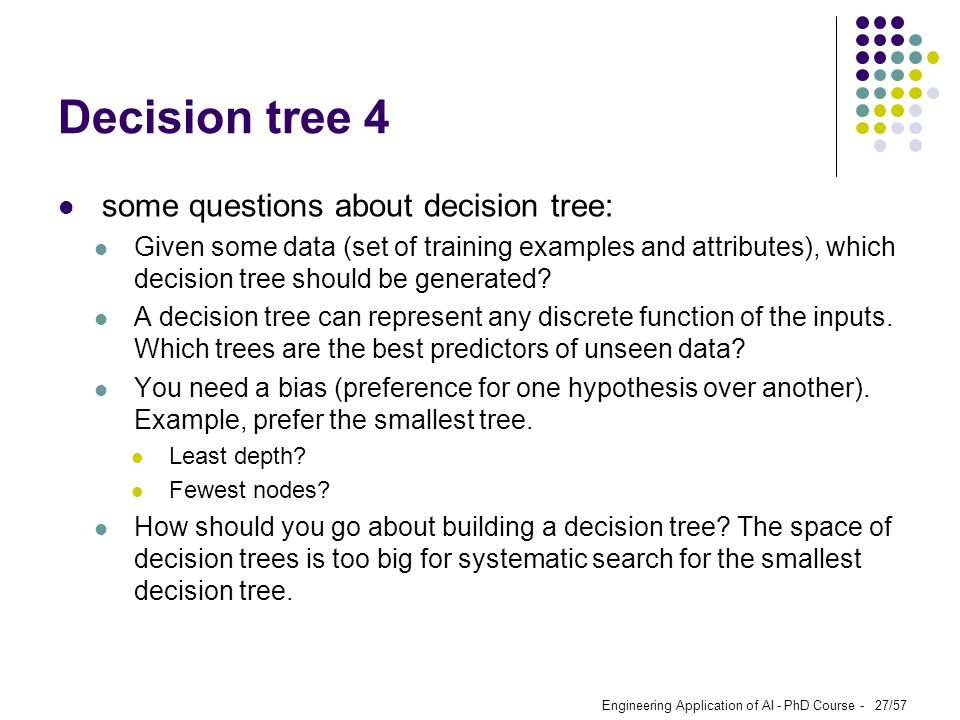 Engineering Application of AI - PhD Course - 27/57 Decision tree 4 some questions about decision tree: Given some data (set of training examples and a
