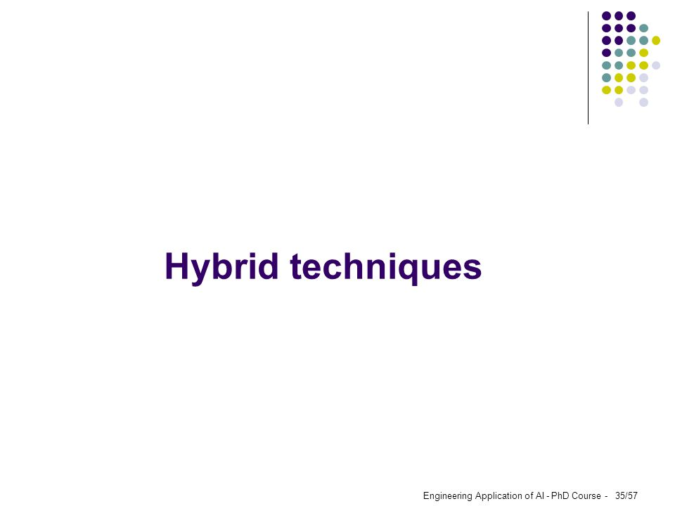 Engineering Application of AI - PhD Course - 35/57 Hybrid techniques