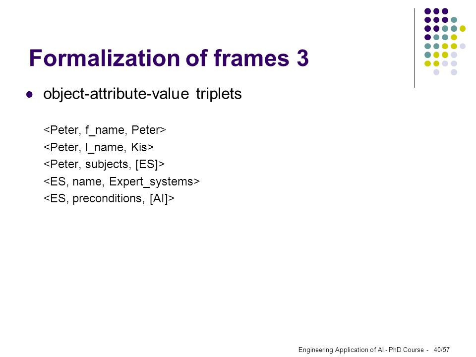 Engineering Application of AI - PhD Course - 40/57 Formalization of frames 3 object-attribute-value triplets
