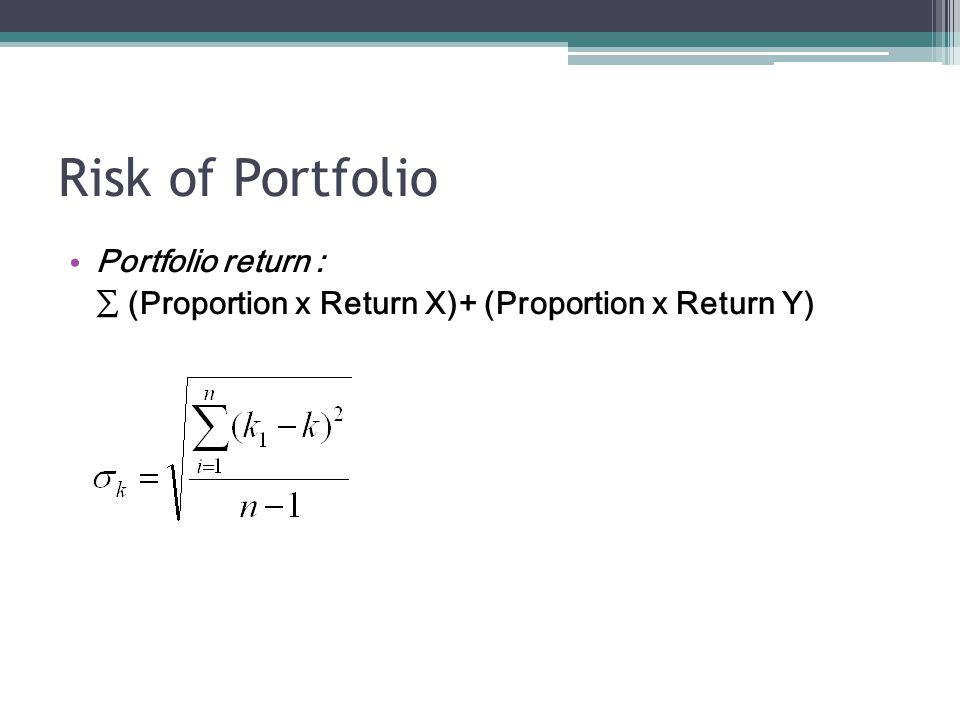 Risk of Portfolio Portfolio return : ∑ (Proportion x Return X)+ (Proportion x Return Y)