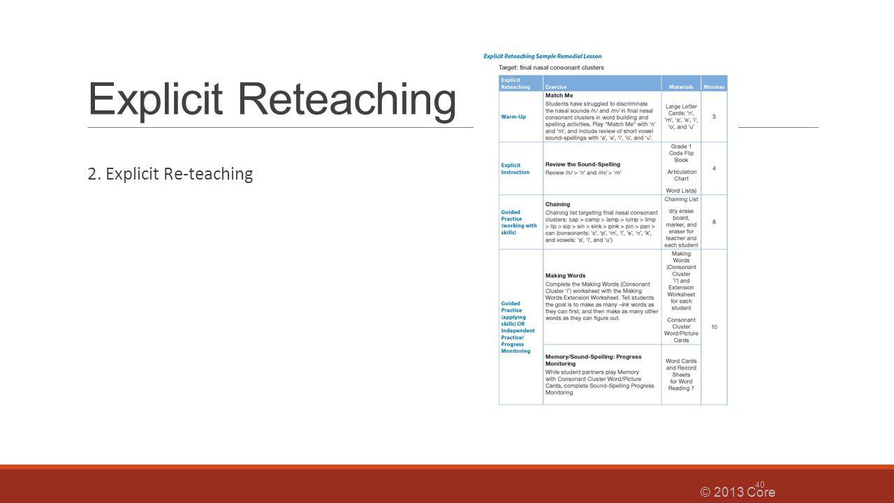 Explicit Reteaching 2. Explicit Re-teaching © 2013 Core Knowledge® Foundation 40