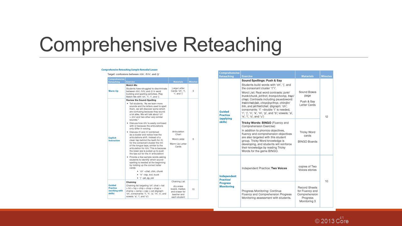 Comprehensive Reteaching © 2013 Core Knowledge® Foundation 41