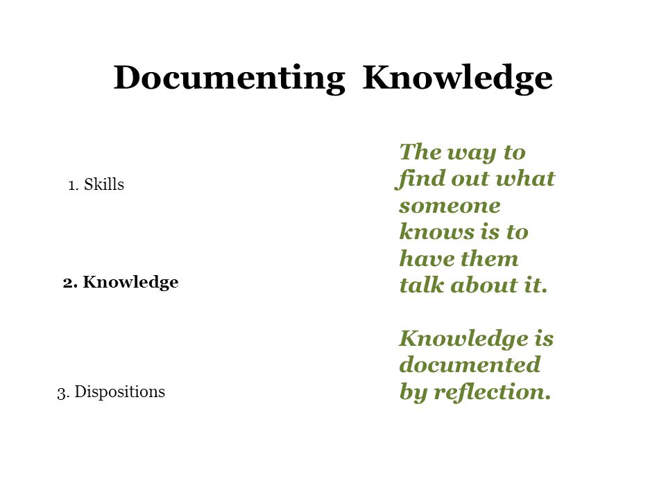 Documenting Knowledge 1.