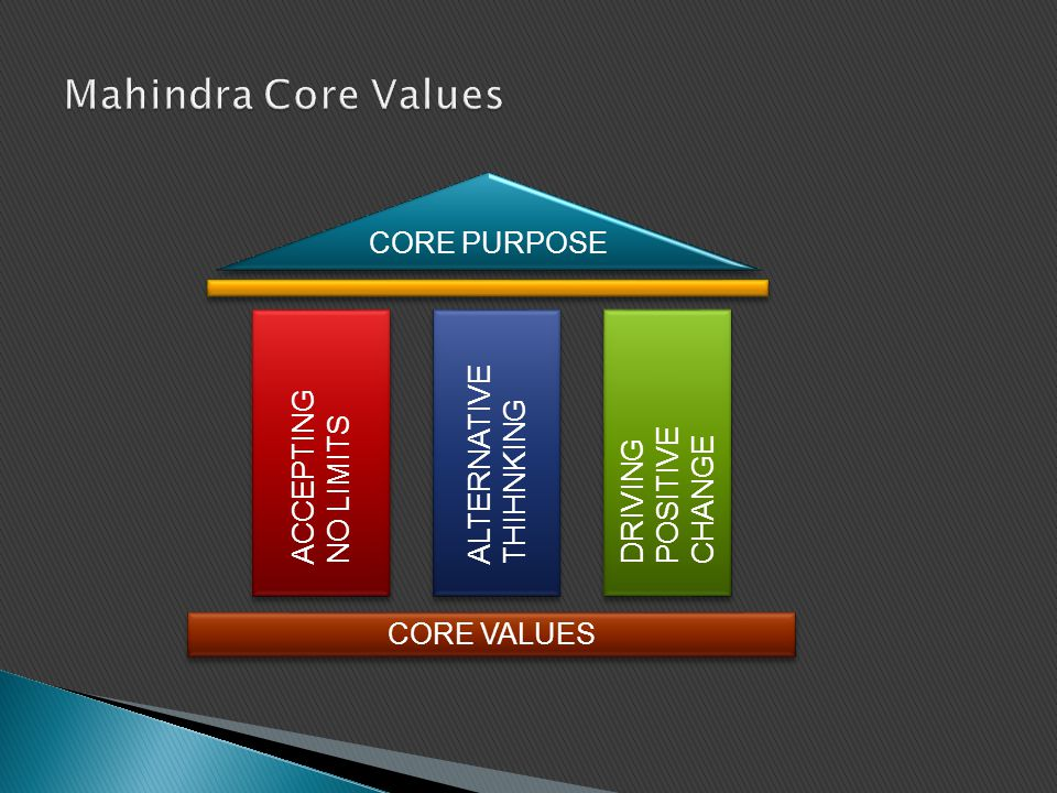 CORE PURPOSE ACCEPTING NO LIMITS ACCEPTING NO LIMITS ALTERNATIVE THIHNKING DRIVING POSITIVE CHANGE CORE VALUES