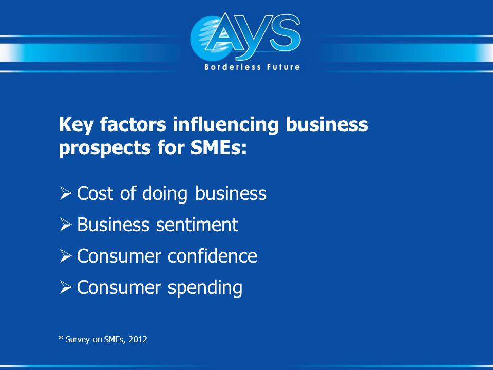 Key factors influencing business prospects for SMEs:  Cost of doing business  Business sentiment  Consumer confidence  Consumer spending * Survey on SMEs, 2012