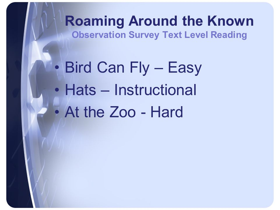 Roaming Around the Known Observation Survey Text Level Reading Bird Can Fly – Easy Hats – Instructional At the Zoo - Hard