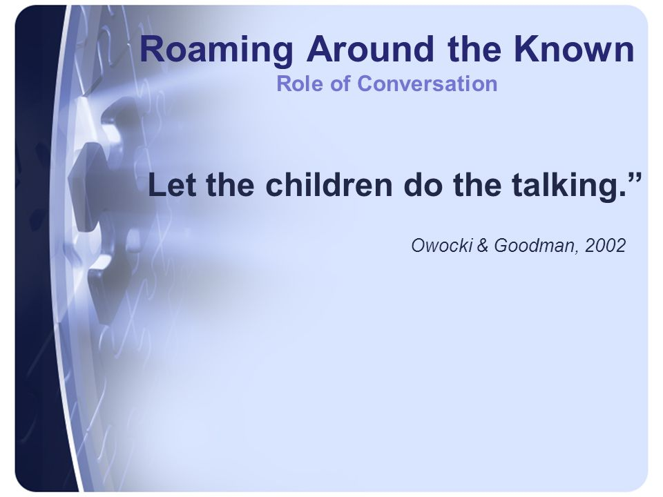 Roaming Around the Known Role of Conversation Let the children do the talking. Owocki & Goodman, 2002
