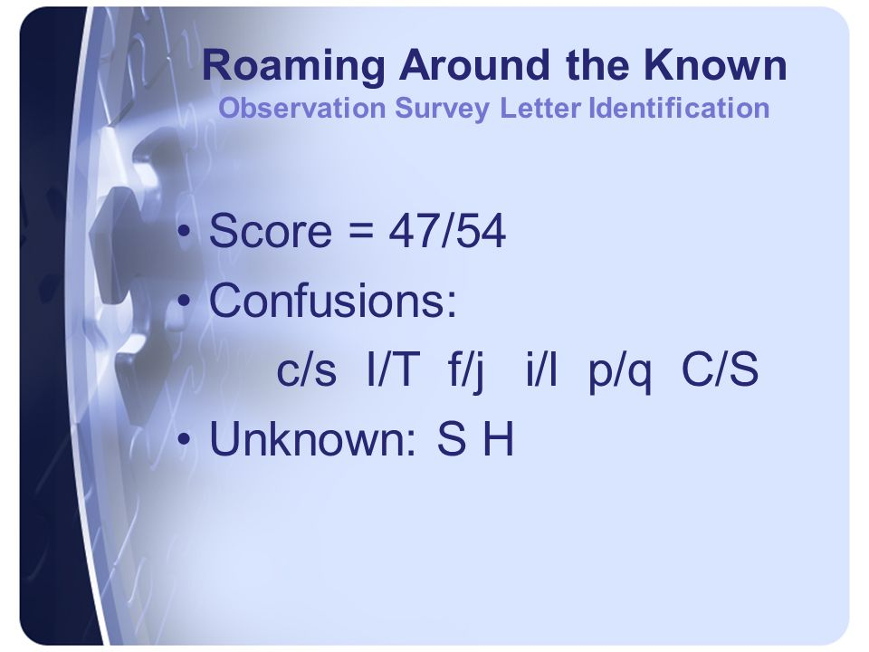 Roaming Around the Known Observation Survey Ohio Word Test Score = 3/20 and am yes