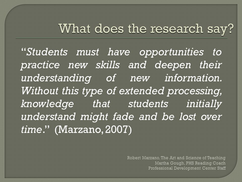 """Students must have opportunities to practice new skills and deepen their understanding of new information. Without this type of extended processing,"