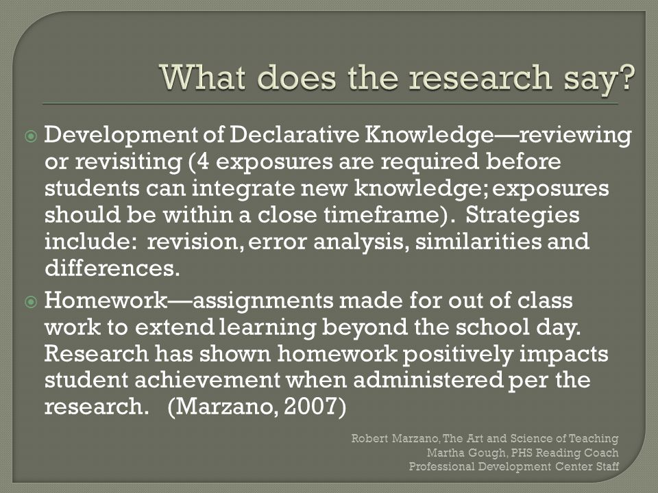  Development of Declarative Knowledge—reviewing or revisiting (4 exposures are required before students can integrate new knowledge; exposures should
