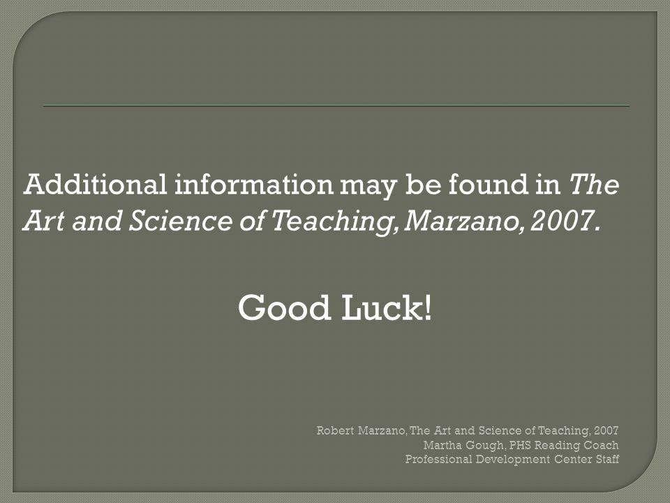 Additional information may be found in The Art and Science of Teaching, Marzano, 2007. Good Luck! Robert Marzano, The Art and Science of Teaching, 200