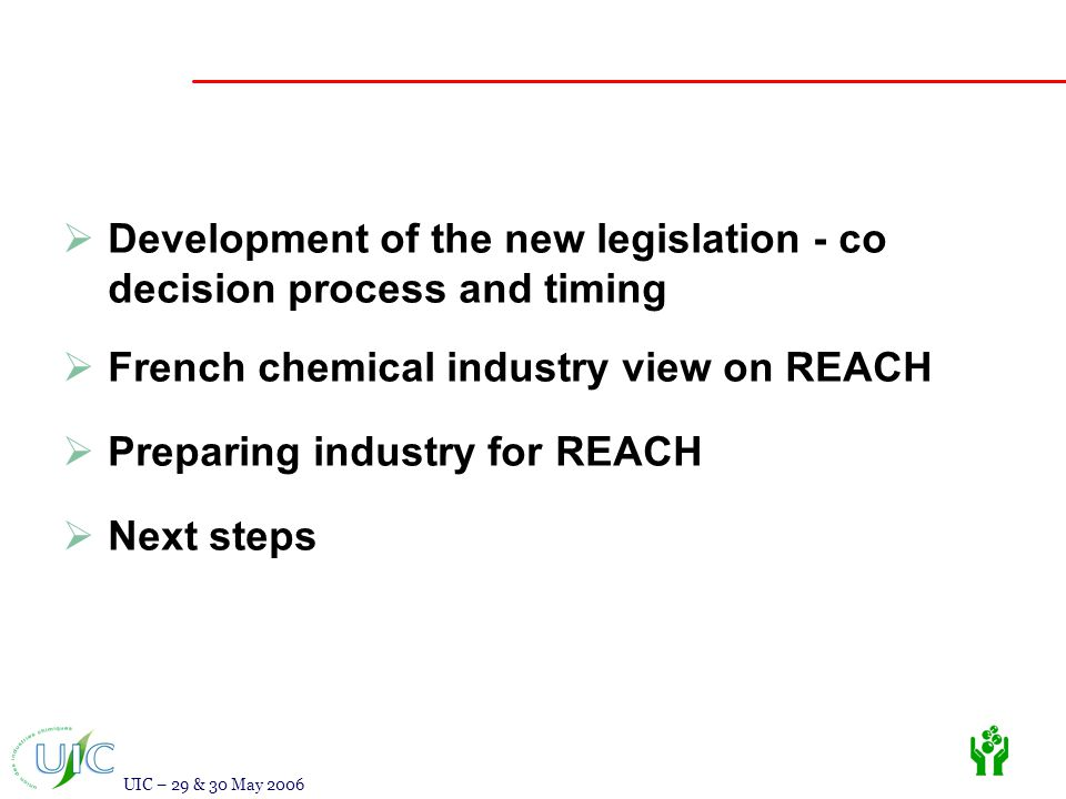 UIC – 29 & 30 May 2006  Development of the new legislation - co decision process and timing  French chemical industry view on REACH  Preparing industry for REACH  Next steps