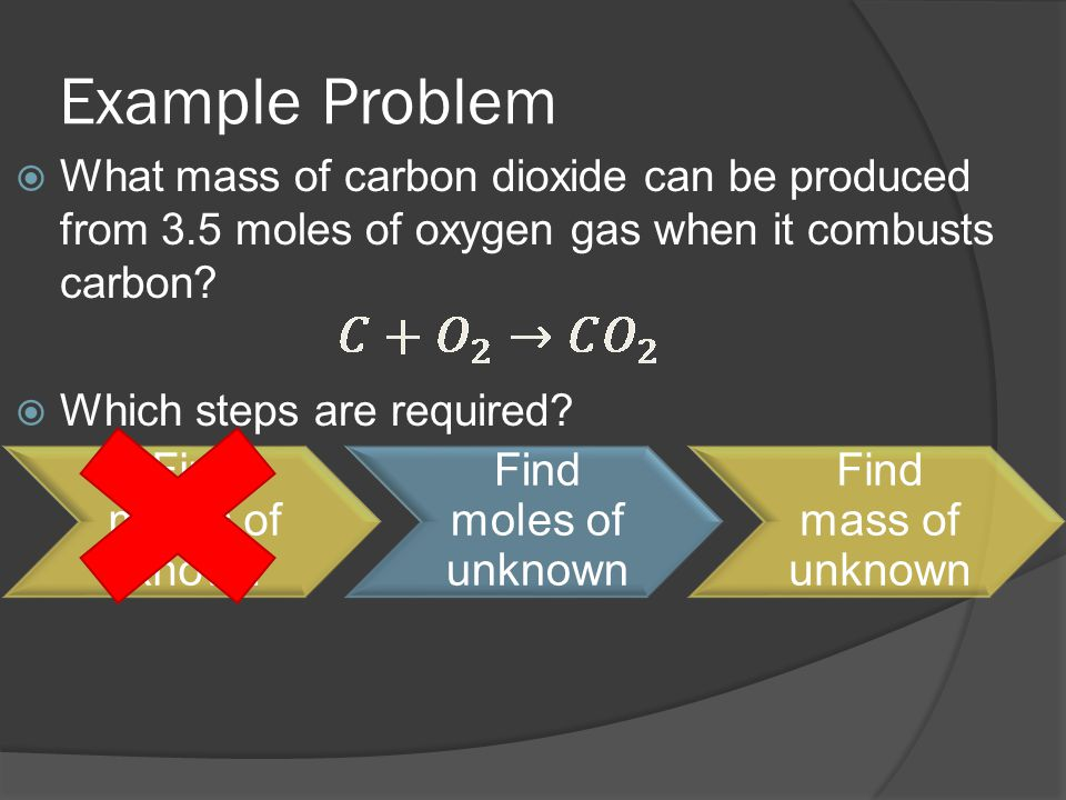 Example Problem  What mass of carbon dioxide can be produced from 3.5 moles of oxygen gas when it combusts carbon?  Which steps are required? Find m