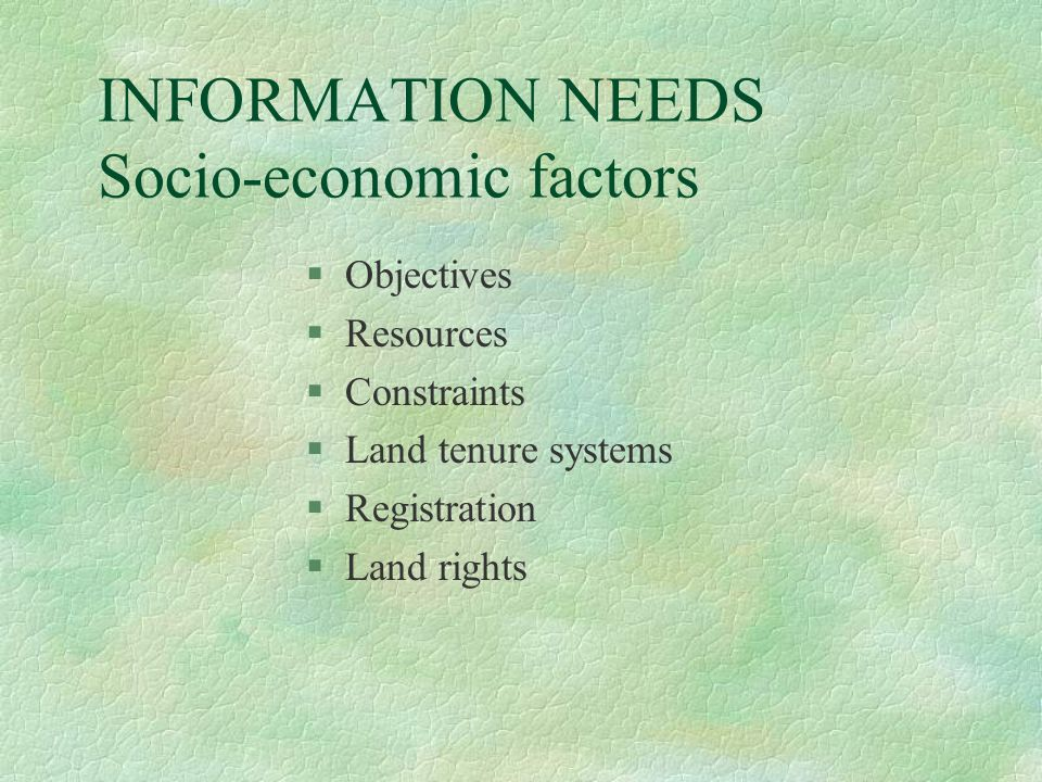 INFORMATION NEEDS Socio-economic factors §Objectives §Resources §Constraints §Land tenure systems §Registration §Land rights