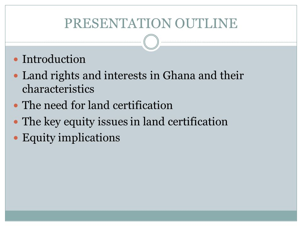 REGISTRATION OF LAND RIGHTS - 2007 RegistryMalesFemalesJointCorporateTOTAL Accra (LTR) 8543913152301790 Sunyani17469724274 Tamale14337327210 Bolgatanga712417103 Wa4081062316553 Koforidua457233143114947 Sekondi5131987386870 Ho262842872446 Cape Coast4161797152718 TOTAL329813216646285911