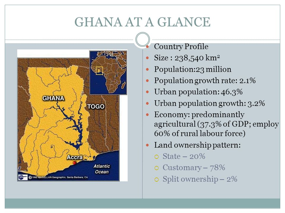 GHANA AT A GLANCE Country Profile Size : 238,540 km 2 Population:23 million Population growth rate: 2.1% Urban population: 46.3% Urban population growth: 3.2% Economy: predominantly agricultural (37.3% of GDP; employ 60% of rural labour force) Land ownership pattern:  State – 20%  Customary – 78%  Split ownership – 2%