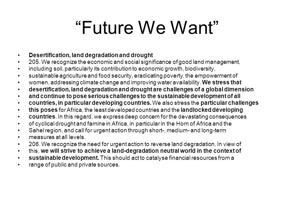 Future We Want Desertification, land degradation and drought 205.