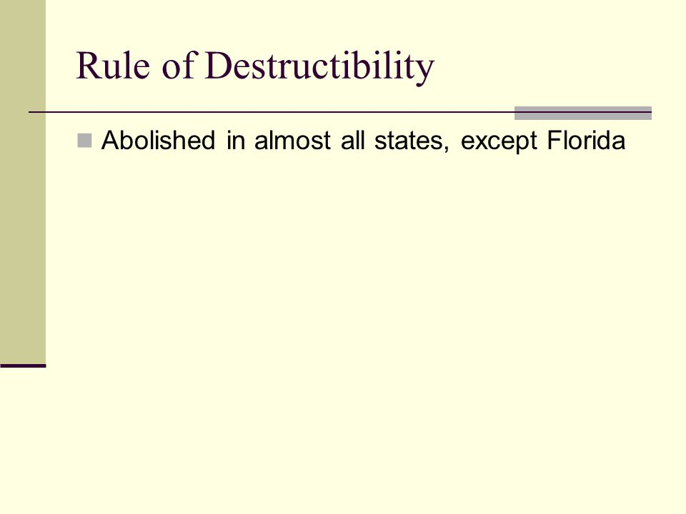 Rule of Destructibility-Exception If the life estate and the next vested estate were created simultaneously with the contingent remainder, they life e