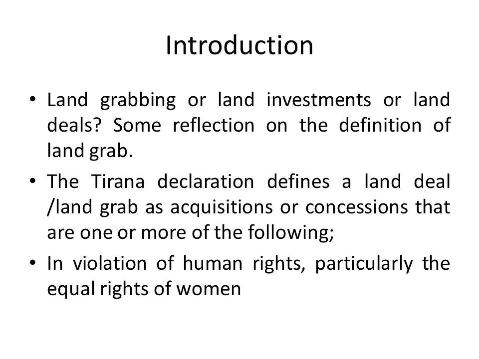 ….cont Despite the presence of legislations and efforts by the government to ensure that natural resources are well governed there are still loopholes that contributes to land grabs, these includes; -Knowledge gap; many villagers are not aware of the legal framework and various procedures involved in land transfer thus feel short changed by investors -Implementation gap; The pace of implementing the Land Acts is slow, very few villages have been surveyed, demarcated and issued with certificates of village land and individual CCROs for villagers