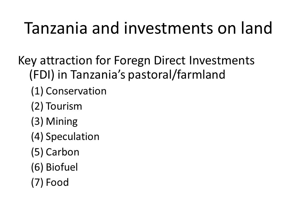 Land area and agricultural use in Tanzania